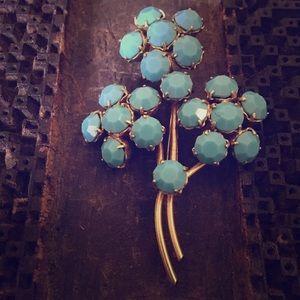 Floral Blue Flower Spray Glass Vintage Brooch